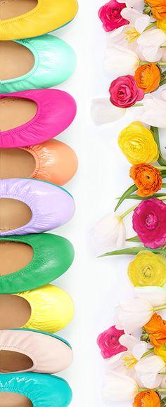Brighten up your wardrobe with Tieks Ballet Flats in fresh spring colors.