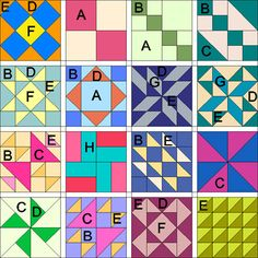 Multiple simple quilt block patterns