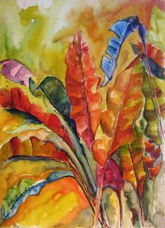 Art Painting Watercolor Tropical Banana Leaves by vhmckenzie Watercolor Flowers, Watercolor Paintings, Tropical Art, Abstract Drawings, Leaf Art, Painted Paper, Painting Inspiration, Room Inspiration, Art Pictures