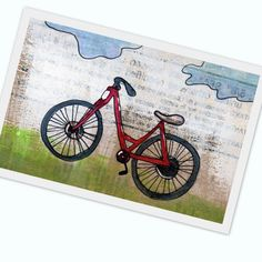 kids room decor red bike is red - multimedia acrylic painting print- summer travel - 5x7 prints on high quality cardstock