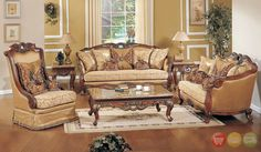 Opulent Traditional Ornate Sofa Love Seat & Chair 3 Piece Formal Adorable Traditional Living Room Furniture Design Ideas