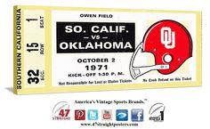 1971 USC Trojans vs. Oklahoma Sooners football ticket stub art on canvas. #OU #Sooners #Oklahoma #USC #Trojans #collegefootball #football #vintage #sports #art https://twitter.com/47_Straight Come follow us on Twitter! #47straight #row1brand