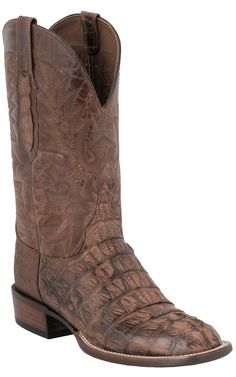 Lucchese® Cowboy Collection™ Men's Brown Caiman Exotic Square Toe Cowboy Boots