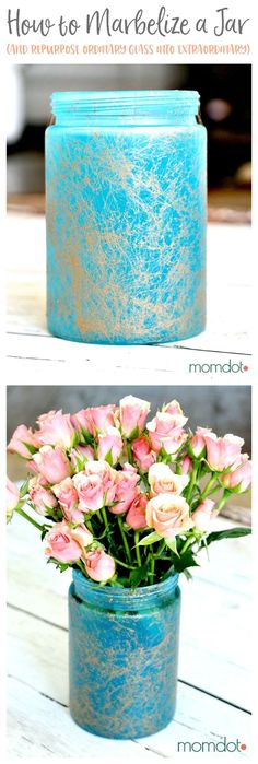 marbelizing a mason jar tutorial - How to Sea glass a Mason Jar, Marbelize a mason jar, and then turn it into the most beautiful vase you own (all from a regular glass one!) 5 minute DIY that will BLOW YOUR MIND. Plus bonus tutorial on how to make mom a p