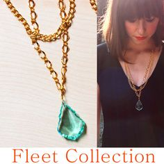 Frozen Raindrop - Double Strand Mixed Gold Finish Brass Chain Necklace with Genuine Ice Blue Crystal Pendant. $32.00, via Etsy.