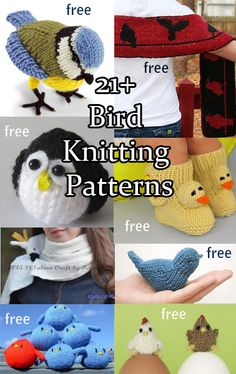 Bird Knitting Patterns An aviary of knitting patterns with patterns for toys, ornaments, scarves, booties inspired by your favorite bird. Owl Knitting Pattern, Animal Knitting Patterns, Loom Knitting, Free Knitting, Baby Knitting, Crochet Patterns, Knitting Toys, Sewing Toys, Dress Patterns