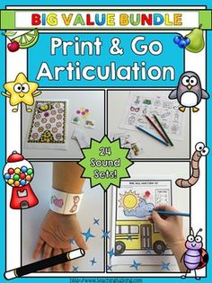 Articulation Activities - Print & Go Articulation Therapy Activities. Perfect for mixed groups. No prep.