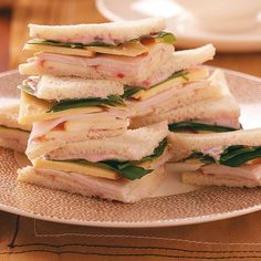 Turkey, Gouda & Apple Tea Sandwiches Recipe -Cut into triangles or quarters, these fun mini sandwiches are a tasty addition to an afternoon tea gathering. The cranberry mayo lends an original flavor twist, and the apples give them a sweet-tart crunch. Tea Sandwiches, Finger Sandwiches, Tea Recipes, Cooking Recipes, Tea Sandwich Recipes, Tartiflette Recipe, Apple Tea, Autumn Tea, Gouda