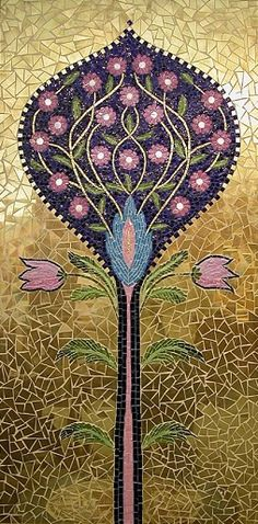 """A personalized reproduction of the 12th century ""Tree of Life"" mosaic in the Monreale cathedral (Sicily-Italy)"" by Delfina Valentini"