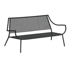 Two seats sofa - A collection defined by sinuous lines, the range of Vera products is a classic furniture line offering comfortable and curved forms.The spacious, extensible oval table features the geometric motif that is the collection's signature in its centre.Different models of chairs, tables and furniture make Vera the collection to create matching outdoor settings.