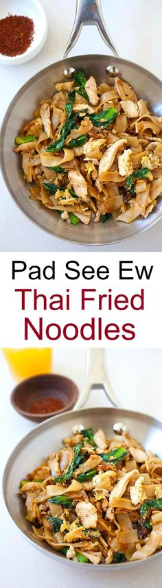 Pad See Ew is a popular Thai noodles dish. Made with flat rice noodles, vegetables, and meat/seafood, pad see ew is a hearty dish. | rasamalaysia.com