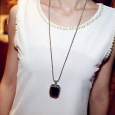 $5.75 Vintage Diamante Faux Gemstone Pendant Sweater Chain Necklace For Women