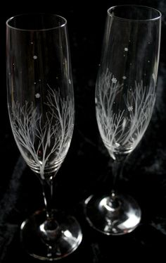 Winter Themed Bohemia Crystal Champagne by VictoriaLucyDesigns