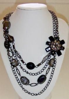 557 Signed NY Black Bead Amp Rhinestone Flower Multistrand Black Metal Necklace | eBay