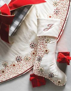 Give gifts a festive place to wait to be unwrapped in this ornately decorated stocking with a glittering hand-sewn design. It was created using metallic threads and hundreds of clear and metallic beads and crystals.