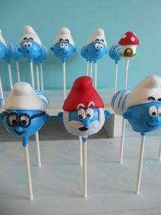 Smurf Baby Cake Pops | Pinterest Baby Cake Pops, No Bake Cake Pops, Character Cakes, Just Cakes, Cake Images, Cake Videos, Birthday Design, 4th Birthday Parties, Fancy Cakes