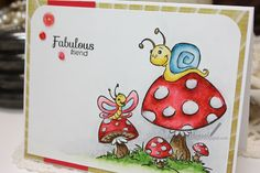 Whimsy Stamps, Krista Heij-Barber, 'Snail and Butterfly Toadstool', Distress Markers, card