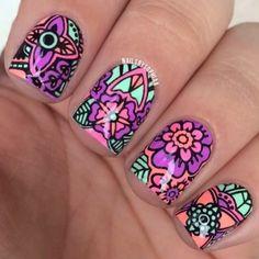 Neon reverse stamping nail art using MoYou plate Fabulous Nails, Gorgeous Nails, Pretty Nails, Fun Nails, Beautiful Nail Designs, Cool Nail Designs, Really Cute Nails, Nailart, Mandala Nails