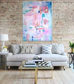 Abstract Canvas Painting  Title: Jaipur  Size:30x40  This is an original artwork, handpainted in acrylics on canvas. The sides are painted, so it is