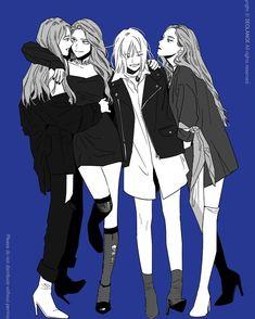 Check out Mamamoo @ Iomoio Yuri Anime, Chica Anime Manga, Manga Girl, Anime Art Girl, Anime Guys, Kpop Drawings, Cute Drawings, Character Drawing, Character Design