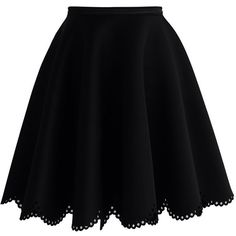 Chicwish Petal Airy Skater Skirt in Black (46 CHF) ❤ liked on Polyvore featuring skirts, bottoms, black, black flared skirt, black circle skirt, cut out skirt, black skater skirt and black skirt
