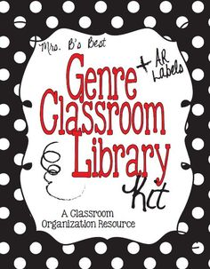 Spice up your classroom library with this fun Genre Classroom Library kit in black and white polka dots with red accents.