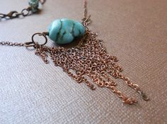 Copper and turquoise nugget necklace by SunshinesPush on Etsy, $32.00