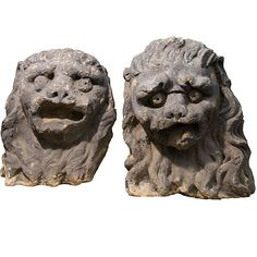 Pair of exceptional Stone Lion Heads with exaggerated form and expression. 17th Century architectural stone elements from the Netherlands