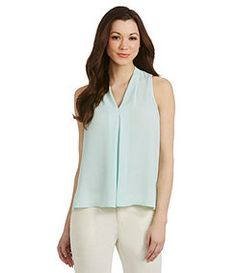 Vince Camuto Sleeveless Inverted-Pleat Blouse good under a suit jacket