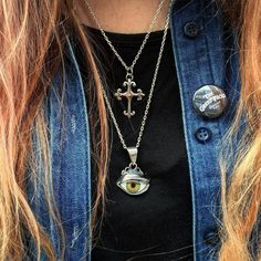 Our Small Fleur De Lis Cross pendant and Eye Pendant both on our thinnest Knifeedge Chains (60cm and 75cm in length.) #thegreatfrog #handmadejewelery #since1972 http://ift.tt/P0jJaq