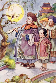 An illustration of the Nightingale from Hans Christian Andersen's Fairy Tales. Andersen's story tells of the Chinese emperor and the mysterious and magnificent country he rules.