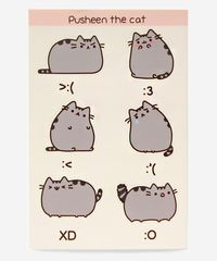 Pusheen Emoticon sticker sheet