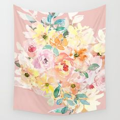 Available in three distinct sizes, our Wall Tapestries are made of 100% lightweight polyester with hand-sewn finished edges. #blushpink, #pinkfloral, #tapestry  #homedecor #walldecor  Featuring vivid colors and crisp  lines, these highly unique and  versatile tapestries are durable enough for both indoor and outdoor use. Machine washable for outdoor enthusiasts, with cold water on gentle cycle using mild detergent - tumble dry with low heat.