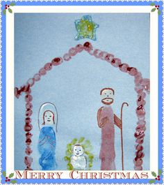 Thumbprint/Fingerprint Nativity Card. Footprint Mary & Joseph, Baby Jesus handprint straw being the fingers, white thumbprint being the baby bundle.....hmmm could I pull that off & the handprint star.
