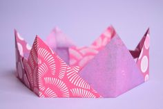 Origami Crown- Easy Paper Craft For Kids. Simple Japanese paper folding, suitabl Origami Crown- Easy Paper Craft For Kids. Kids Origami, Useful Origami, Origami Easy, Origami Paper, Paper Folding Crafts, Paper Crafts For Kids, Hobbies And Crafts, Easy Crafts, Origami Crown