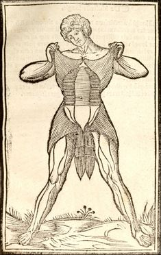 Right page of Anatomia Carpi by Jacopo Berengario da Carpi featuring  a crude figure of a dissected man holds his flayed skin up near his shoulders exposing his muscles underneath.