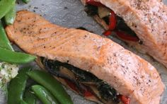 Stuffed Baked Salmon by Siba Mtongana (Salmon) @FoodNetwork_UK