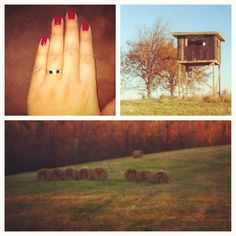 The best proposal ever from the greatest guy in the world! Before opening day of deer (gun) hunting season, my man spent weeks on building a shooting house for us to hunt out of. On opening day, we got there when it was still dark (6am) out and we climbed Inside. He had crates for us to sit on and he said he put plastic up on one of the four windows, the front window, to help keep the wind out of our faces until daylight; then we would take it down. Once it got about 7am (daylight) he told me...