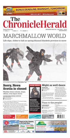 Front Page, Spring Blizzard, March 27, 2014 The Chronicle Herald, Halifax, NS http://thechronicleherald.ca/