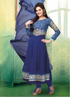Blue Resham Embroidered Work Anarkali Salwar Suit [Also on http://www.wholesalesalwar.com/enticing-monica-bedi-georgette-anarkali-collection-ke7083_7083 SGD 40.43]