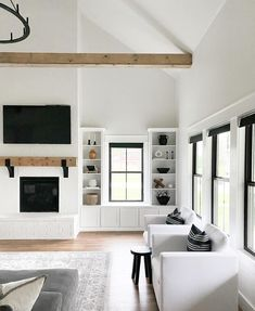 The modern farmhouse style has never looked so good. Complement your love for simplistic decor with automated black roller shades that deliver a contrast against all the white and wood tones. Elevate your space today! Budget Blinds, Roller Shades, Modern Farmhouse Style, Built Ins, Home Decor, Contrast, Friday, App, Space