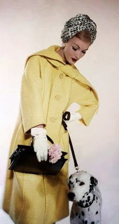 Matlin, Scarf collared coat of wicker woven wool -  March 1959 - Vogue - Photo by Karen Radkai