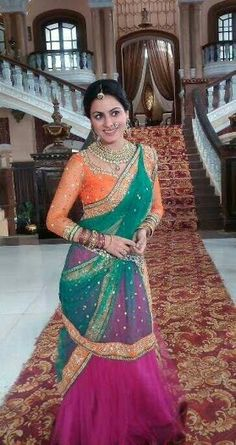 shraddha arya Indian Dresses, Indian Outfits, Lehenga Style, Lehenga Choli, Sarees, Diva Fashion, Fashion Design, Half Saree, Indian Attire