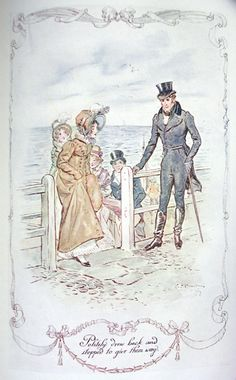 "Anne bumps into Mr. Elliot at the seaside - Brock, C.E. - ""Politely drew back and stopped to give them way"""