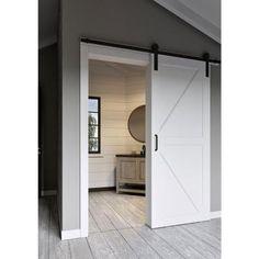 Jeff Lewis 42 in. x 84 in. White Collar K-Bar MDF Barn Door with Sliding Door Hardware Kit - 65709 - The Home Depot
