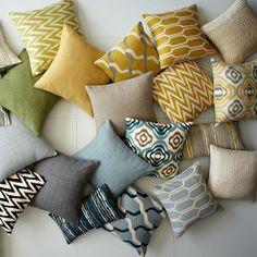 Broken Stripe Pillow Cover - Blue Lagoon   west elm
