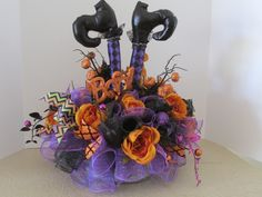 halloween centerpiece witchs legs halloween arrangement halloween table arrangement by wreathsbyeugenia on etsy https - Halloween Centerpieces