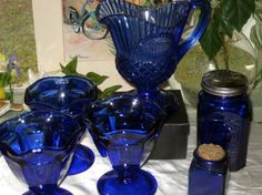 vintage cobolt blue glass ware by POPPIESTREASURES on Etsy, $14.99
