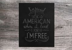 I'm Proud to be an American 8x10 4th of July / Independence Day Chalkboard printable digital download on Etsy, $5.00