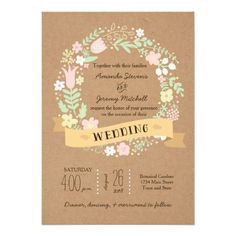 Whimsical Floral Wreath on Craft Paper Wedding Cards